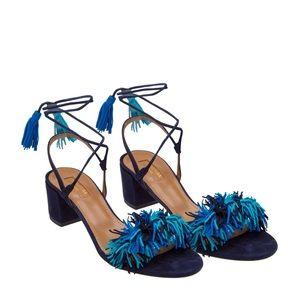 Aquazzura Wild Thing Blue Lace Up Heel Sandal NWT